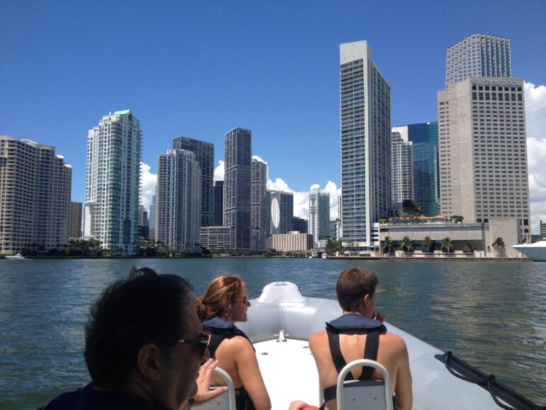 Downtown Miami Skyline from a boat tour in Miami.