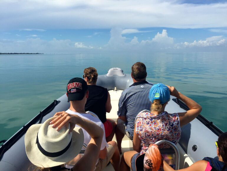 Cruising across the calm waters of Miami's Biscayne Bay on a sightseeing boat experience.