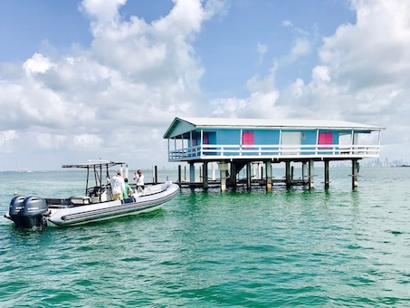 Touring the houses of Stiltsville in Miami's Biscayne National park, the largest underwater park in the US.